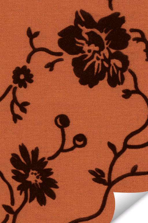 Lamellenstoff mit terra/braun Blumenmuster