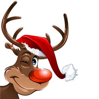 Rentier mit Weihnachtsmütze