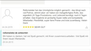Kundenbewertung Rollo