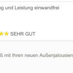 Außenjalousien Lieferung feedback
