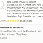 feedback Passform Plissee