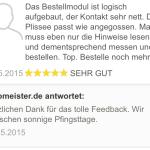 feedback Passform Plissee