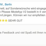 feedback Sonderwünsche Plissees