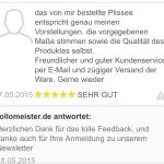 feedback Plisseekauf und Newsletter