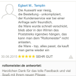 feedback Auswahl Plissees