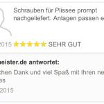 feedback Nachlieferung Schrauben