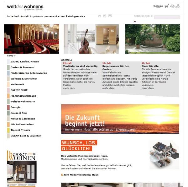 Welt des Wohnens Website