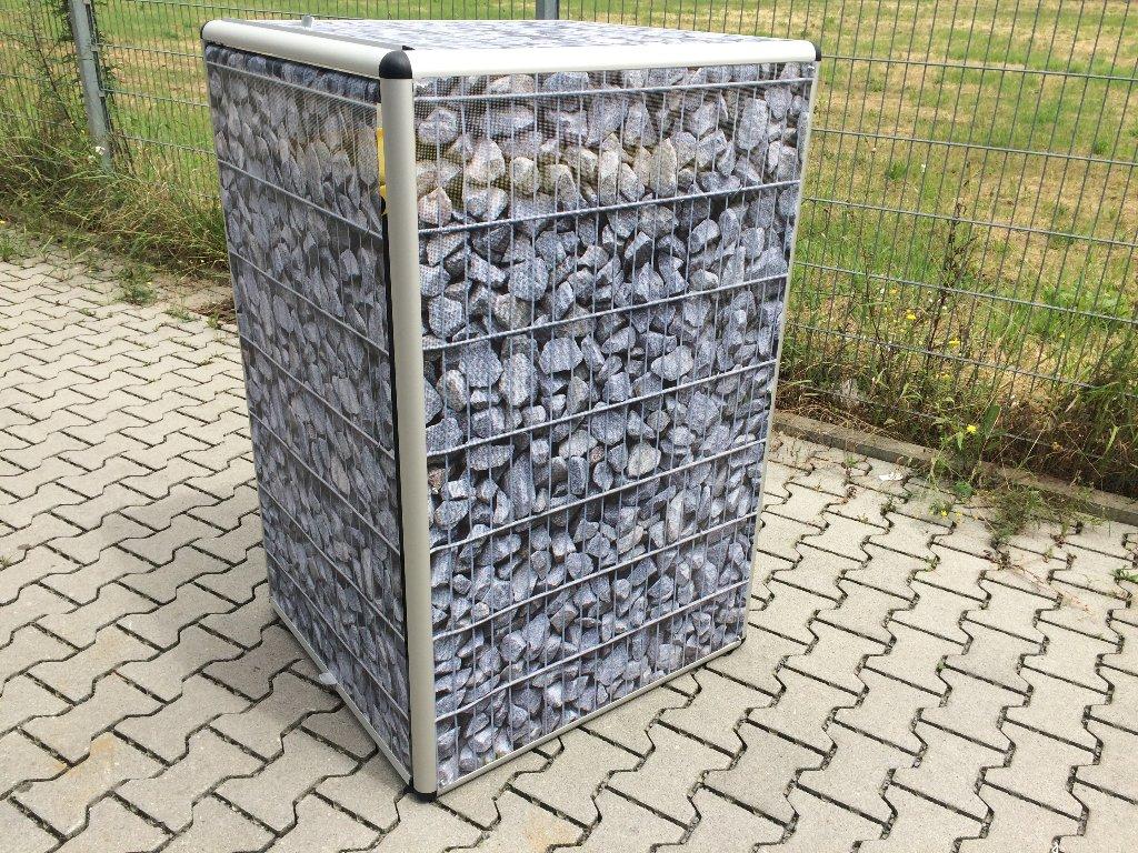 Mülltonnenbox in Gabionen-Optik